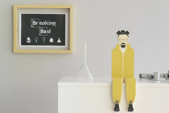 Breaking Bad Wooden Figurine Walter White Popular Character  Shelf Decor Movie Series Characters