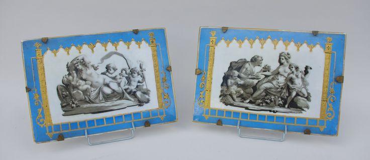 Pair of painted porcelain with antique decor circa 1830 #antiques #antiquedealer