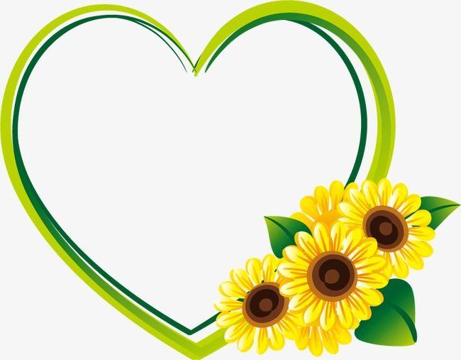 Heart Sunflower Border, Heart Shaped, Frame, Sunflower PNG ...