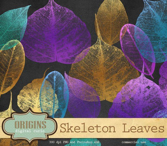 Skeleton Leaves PSD Brushes Clip Art by Origins Digital Curio on @creativemarket