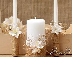 Rustic Wedding Candles Rustic Unity Candle Set by HappyWeddingArt