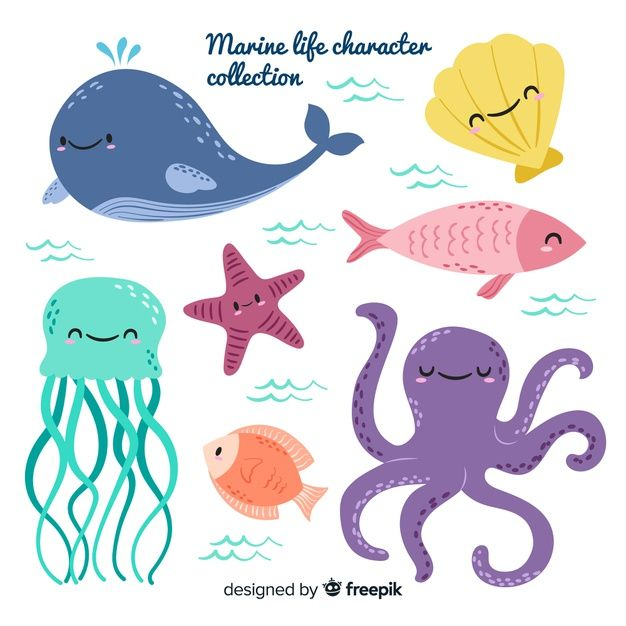 Hand Drawn Sea Animals Collection Free V Free Vector Freepik Freevector Freewater Freehand Animal Illustration Kids Sea Illustration Doodle Characters
