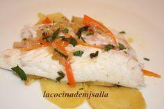 La cocina de MJ Salla: LUBINA CON JENGIBRE Y CAVA.