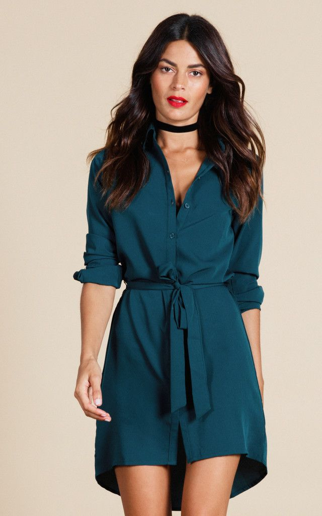 Classic shirt dress with dipped back and tie-belt. Timeless piece, flattering and versatile.