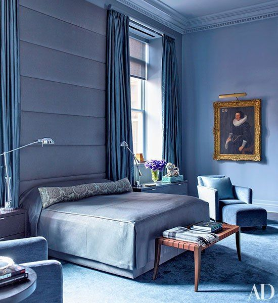 MANGLAM: Masculine Luxe In The Bedroom | Bruce Bierman Design Inc. makes a bold statement with floor to ceiling periwinkle in this cozy NYC bedroom. Photo via Architectural Digest.