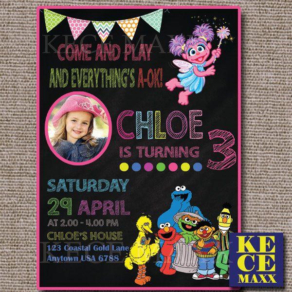Sesame Street Birthday Invitation, Sesame Street,Sesame St, Jalan Sesama, Sesame Invitation,Sesame Theme, Girl Birthday Invitation, Party by kecemaxx on Etsy