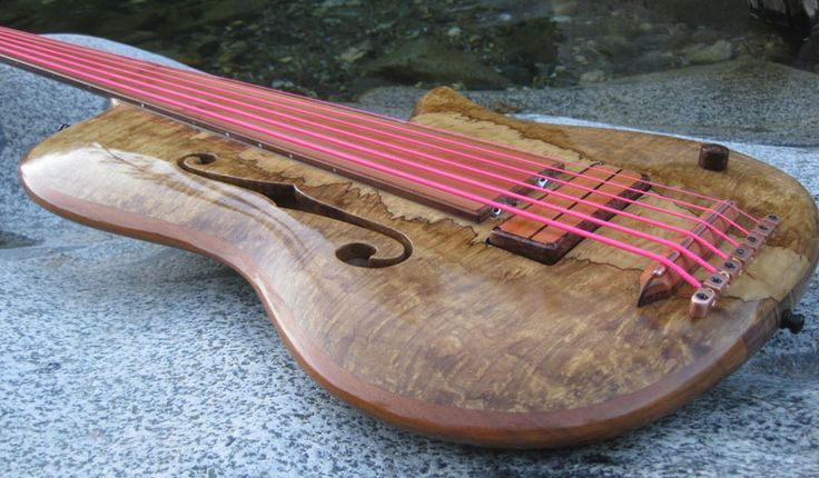 Ken Bebensee 6 string fretless semi hollow body single cut bass. OMG. these basses are so beautiful...