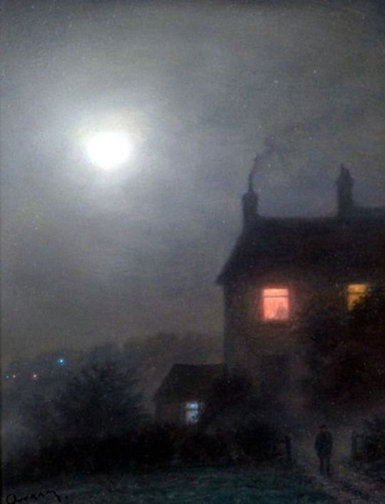 A Moonlight Night - Steven Outram to be in the house everyone safe from the cold a log fire and a great evening meal every one safe from the fog and cold