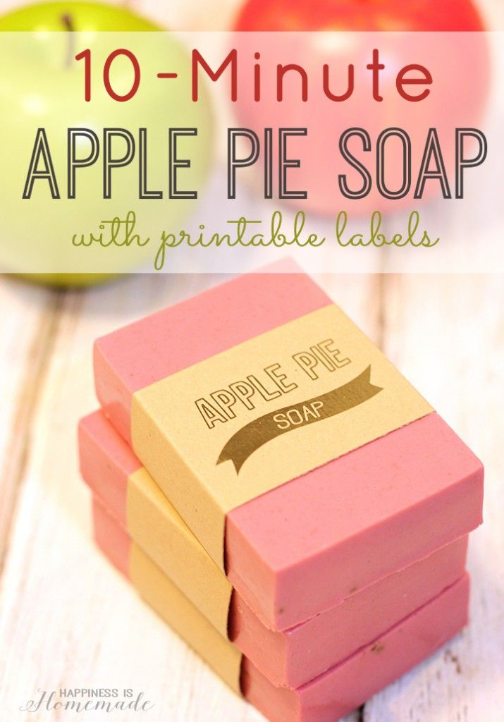 10-Minute Apple Pie Soap + Gold Foil Labels -smells just like fall! Great hostess or teacher appreciation gift idea, too! via Happiness is Homemade