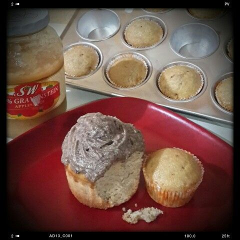 Applesauce cupcake with brown butter frosting