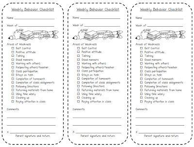 Weekly Behavior Checklist