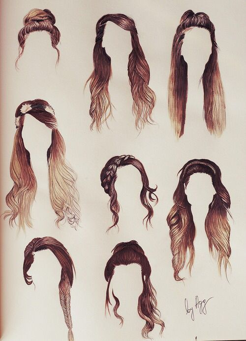 hair illustrations (is this zoella's hair? it looks like it)