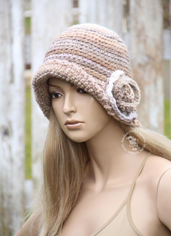 Winter Crochet hat Women's cloche Flower hat Fashion