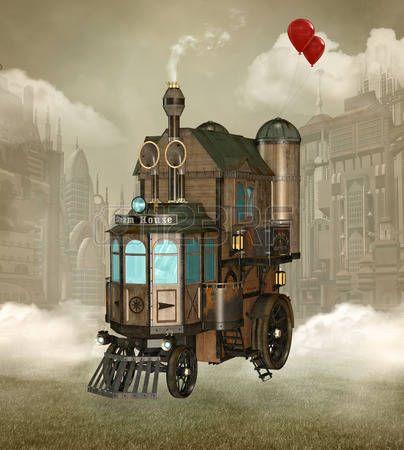 Surreal steam punk house photo