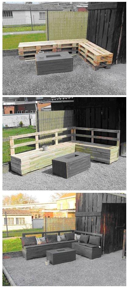 Salon de jardin en palette style lounge