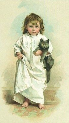 She Won't Go To Bed Without Her Cat, Now What Do You Make Of That? ~ Vintage Art