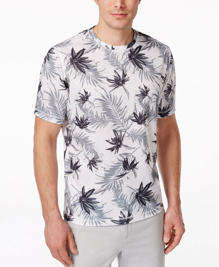 Tasso Elba Men's Paradise Crew-Neck Floral-Print T-Shirt, Only at Macy's