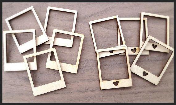 10 Pieces Laser Cut Wood Embellishments Mini Polaroid by Laserbird