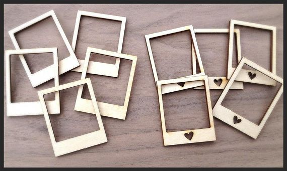 10 Pieces Laser Cut Wood Embellishments Mini Polaroid by Laserbird