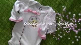 https://www.youtube.com/watch?v=bKtyPvN6kCs  Easy method for centering embroidery applique design on shirts onsies