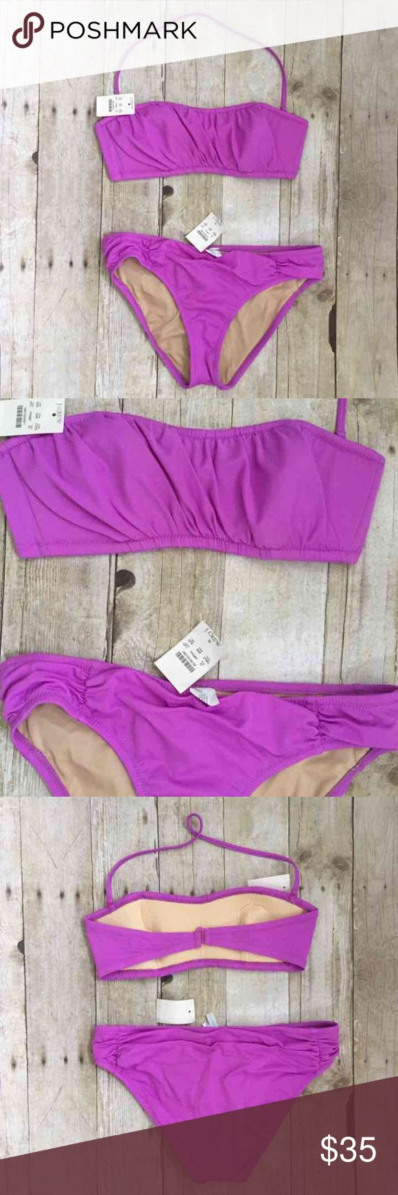"J. Crew | Pink Purple Bandeau Top Bikini NWT. Selling only as a set. Top and bottom are size medium. Bra is padded and strap is removal. Photos are true to color. Bust laying flat is 13.5"". Waist laying flat is 15"". Hygiene liner is in place. J. Crew Swim Bikinis"