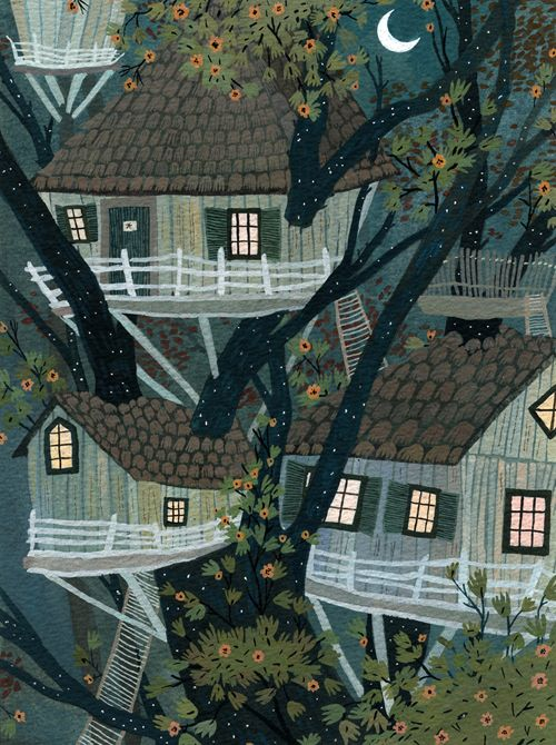 Becca Stadtlander tree houses art illustration