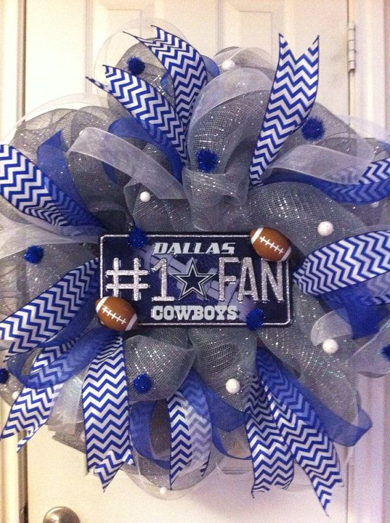 Deco Mesh Dallas Cowboys Wreath by DebbiesDoorDelights on Etsy, $65.00.. made would do nuts for this