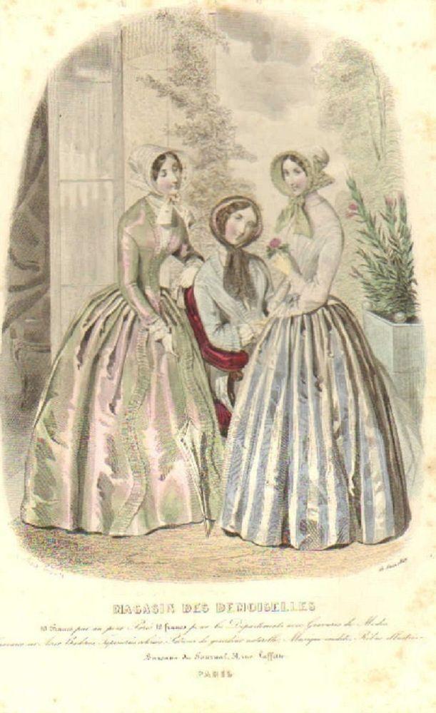 Juni 1849  ++++++++  GRAVURE de MODE AUTHENTIQUE-P 28-MAGASIN DES DEMOISELLES-ROBES DE BAL-1849