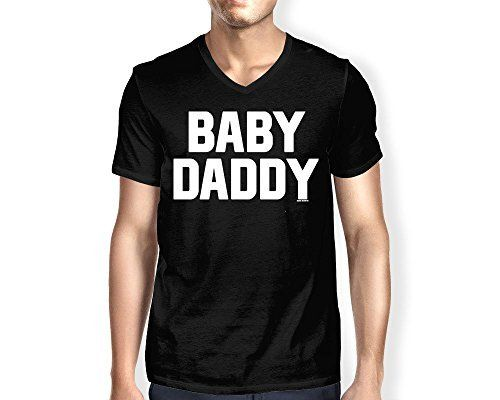 Mens Baby Daddy - Father's Day Gift V-neck T-shirt (2XL, BLACK)