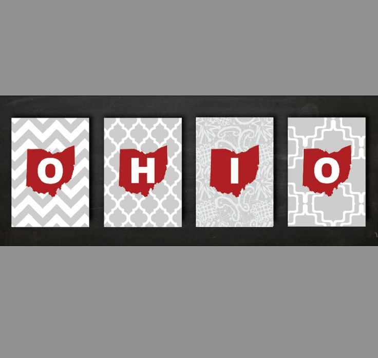 Ohio State Set of Four  5x7 OR 8x10 Prints by EGallaDesign on Etsy, $20.00