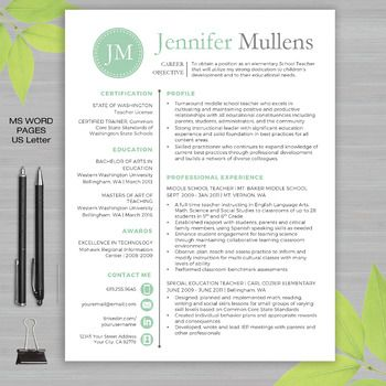 """Teacher Resume Templates are designed specifically with educators in mind. All templates are are loaded with education related verbiage and sample text and tips. Educators no longer need to reformat templates to fit needs related to education. Included is a BONUS """"EDUCATOR"""