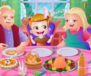 Малышка Хейзел: День Благодарения, http://www.babyhazelworld.com/game/malishka-hazel-den-blagodareniya. Помоги малышке Хейзель приготовить индейку на День Благодарения. Сегодня на обед придут бабушка и дедушка - это будет чудесный день!