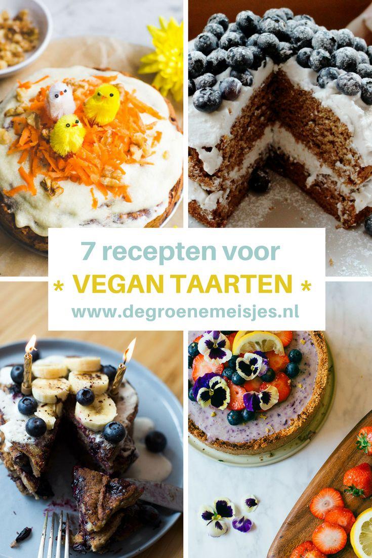 mijn 7 favoriete vegan taarten: worteltaart,  chocolademoussetaart, cheesecake, bananenpannenkoekentaart,  vegan kwarktaart,  feestelijke feesttaart. en natuurlijk vegan brownies.