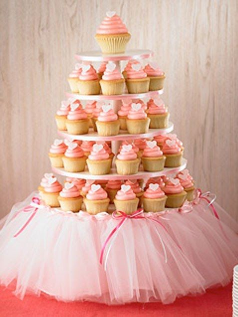 Love the tulle skirt on the cupcake stand