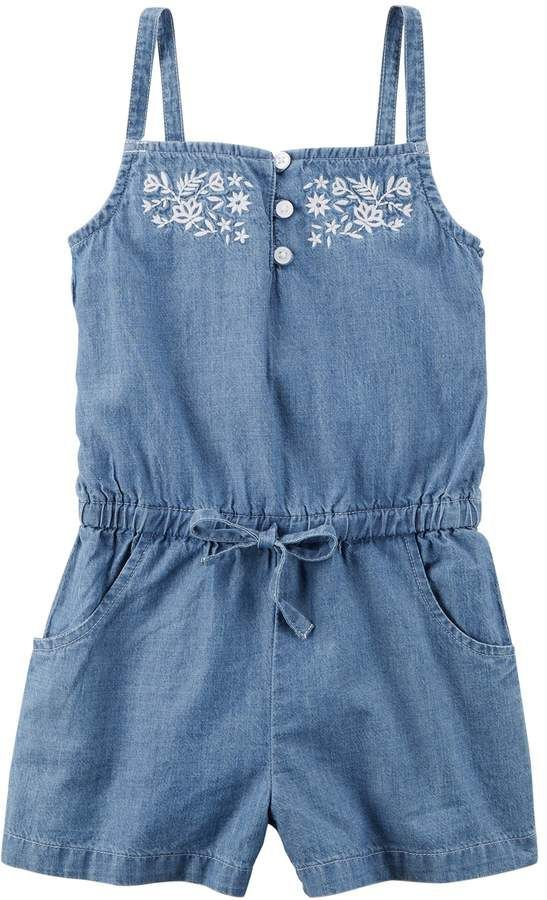 ef145e8db8e0 Toddler Girl Carter s Embroidered Top Chambray Romper
