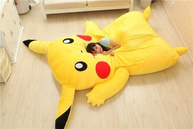 Sleep with Pikachu on giant Pikachu bed