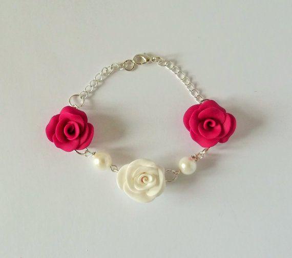 Pink Rose Flower Bracelet Statement Bracelet by fabtasticflowers