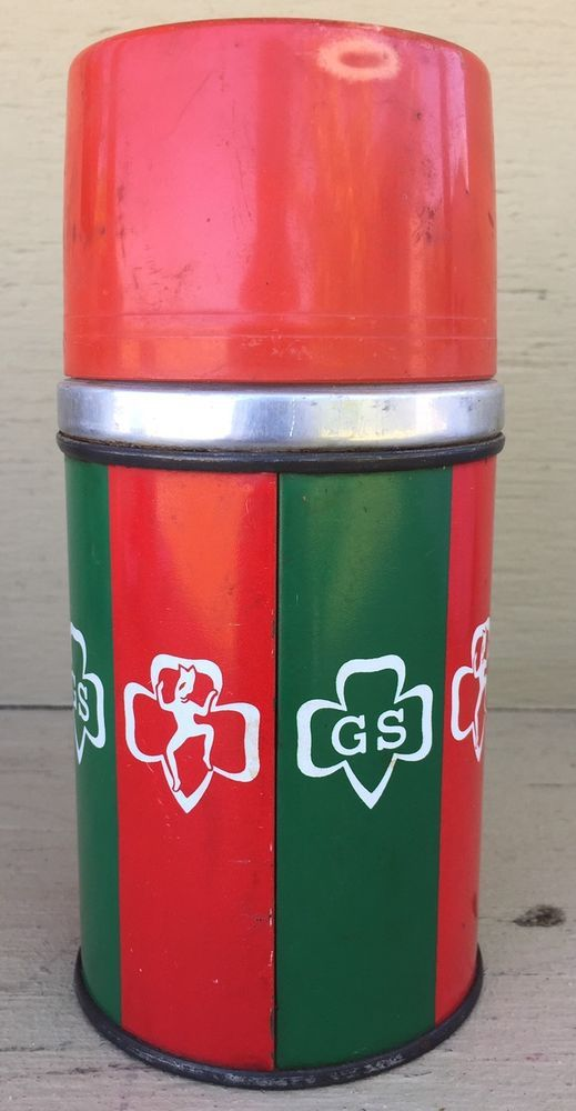 Vintage Red & Green Girl Scout Metal 8 oz Aladdin Thermos  | Collectibles, Pinbacks, Bobbles, Lunchboxes, Lunchboxes, Thermoses | eBay!