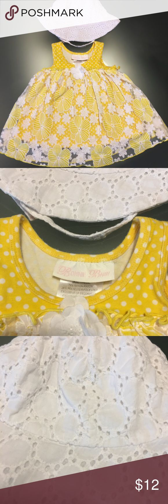 Yellow floral sundress and white sun hat Fits about 3-6 mos, Velcro chin attachment on hat Dresses Casual