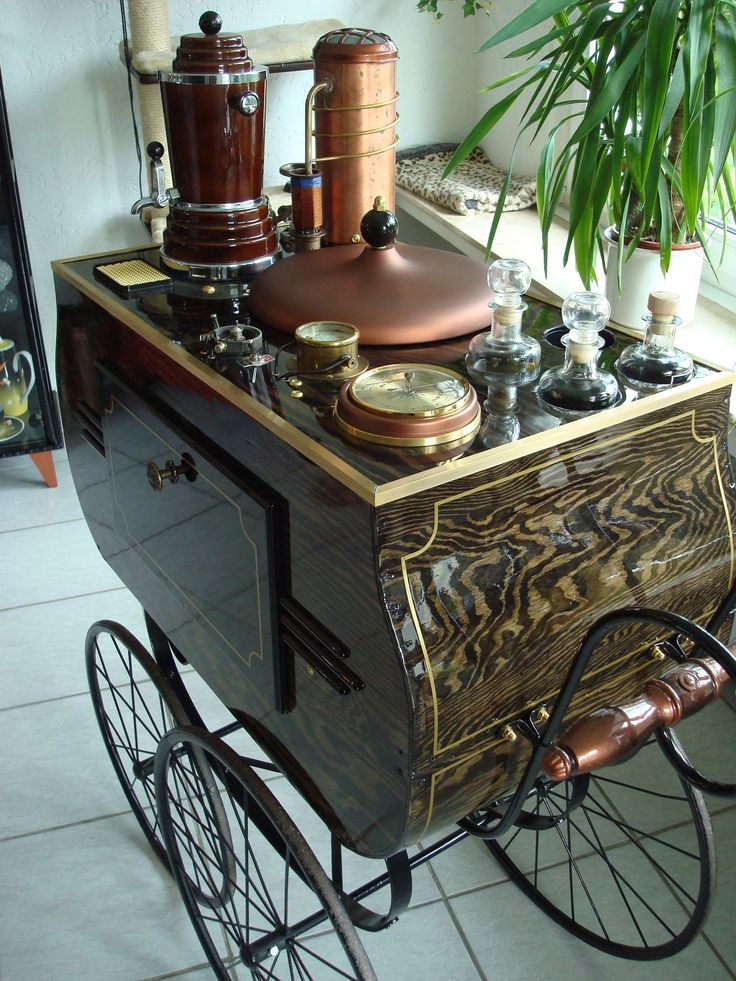 Steampunk Tea Cart: To be pushed around the hospital ward.