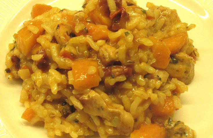 In Italië hebben ze vast en zeker nog nooit gehoord van risotto met kip, pompoen en zontomaatjes. Laten we afspreken dat we het ook niet gaan verklappen