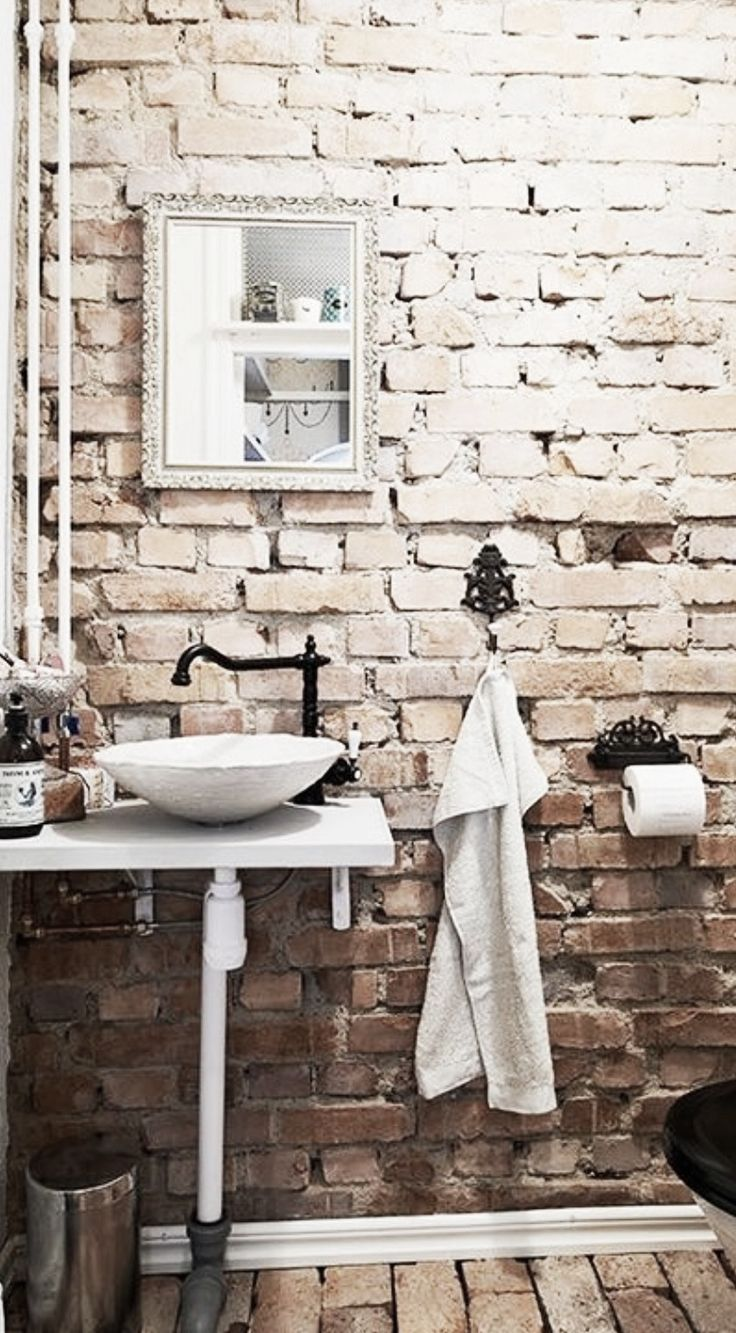 1000 ideas about brick bathroom on pinterest mosaic for White exposed brick wall