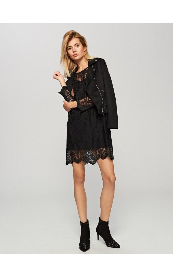Krajkové šaty s košilkou, Šaty, Černý, RESERVED