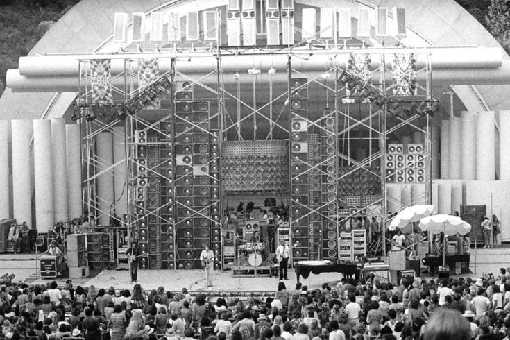 The Grateful Dead were carting around their GIANT Wall of Sound set up in 1974 - it was an attempt to get the sound levels & quality they wanted but the entire array proved to be too time consuming to set up/tear down and also very precarious at some venues - but WOW was it something to behold of the eyes and ears in 1974 while it was in use.