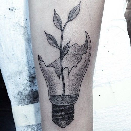 Life Broken Light Bulb http://www.pairodicetattoos.com/life-broken-light-bulb/