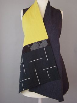 Wrapped Shoulder Vest in Black, Yellow and Gray with Embroidered Pattern