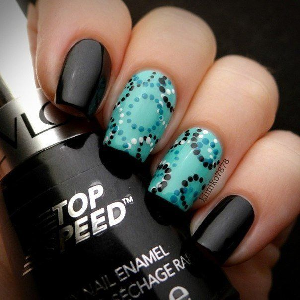 Beautiful nails 2016, Black and turquoise nails, Contrast nails, Dark shellac nails, Evening nails, Fall nails 2016, Manicure 2016, Nails under turquoise dress