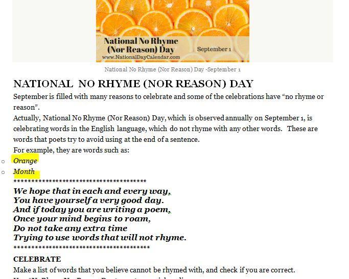 Nat'l No Rhyme Or Reason Day; Sept 1