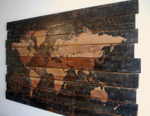 Extra Large World Map and Compass Wall Art on Distressed Solid Wood – 50″ x 32″