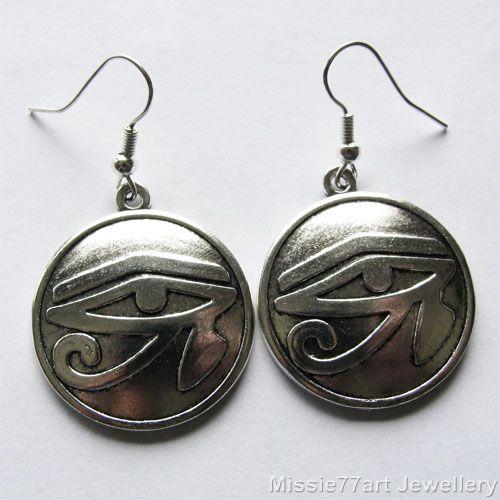 Eye of Horus Wadjet eye earrings in silver plate available from Missie77art Jewellery ebay